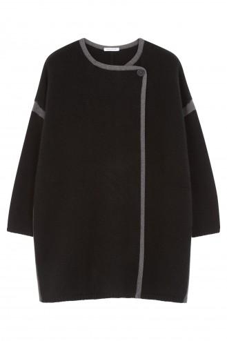 Manteau cachemire noir - 100% cachemire - 4 fils