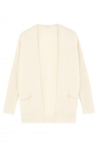 white cashmere cardigan - 100% cashmere - 4 ply