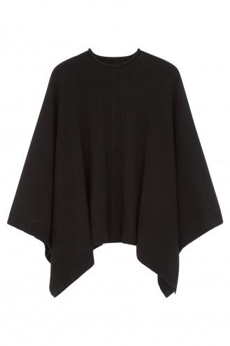 Poncho cachemire noir - 100% cachemire - 4 fils