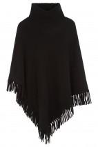 Poncho cachemire noir - 50% cachemire - 50% laine - 4 fils