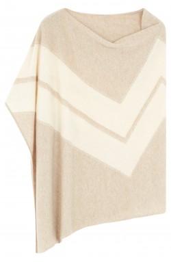 Poncho cachemire beige chiné - 100% cachemire - 2 fils